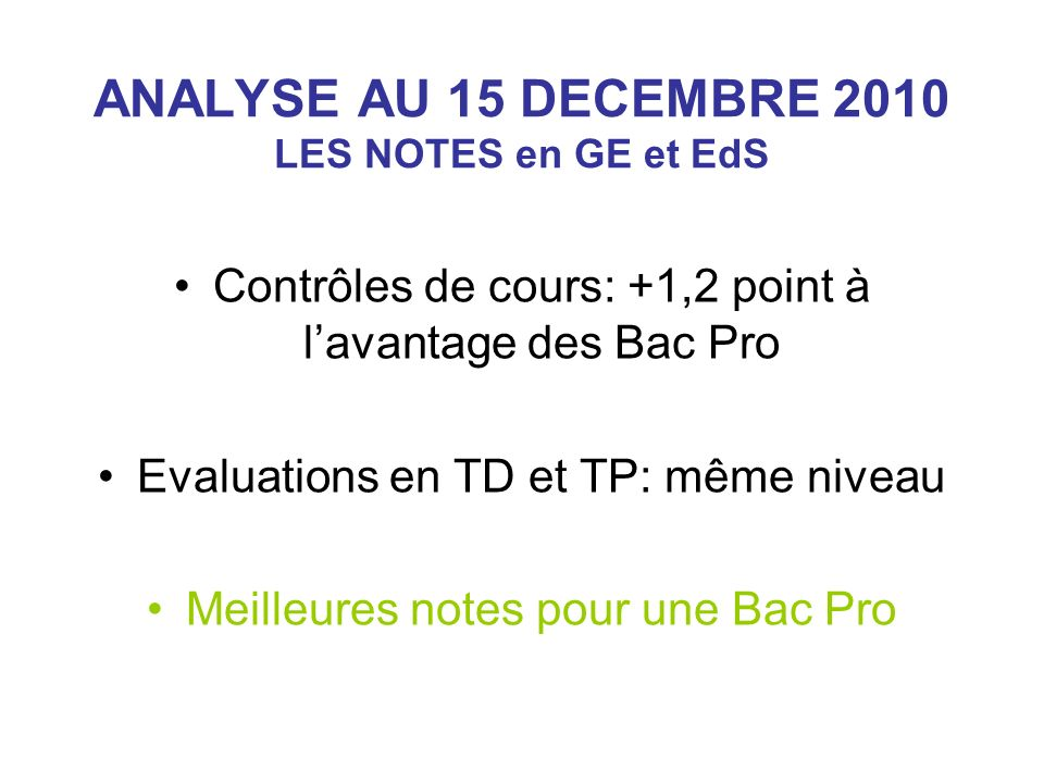 ANALYSE AU 15 DECEMBRE 2010 LES NOTES en GE et EdS