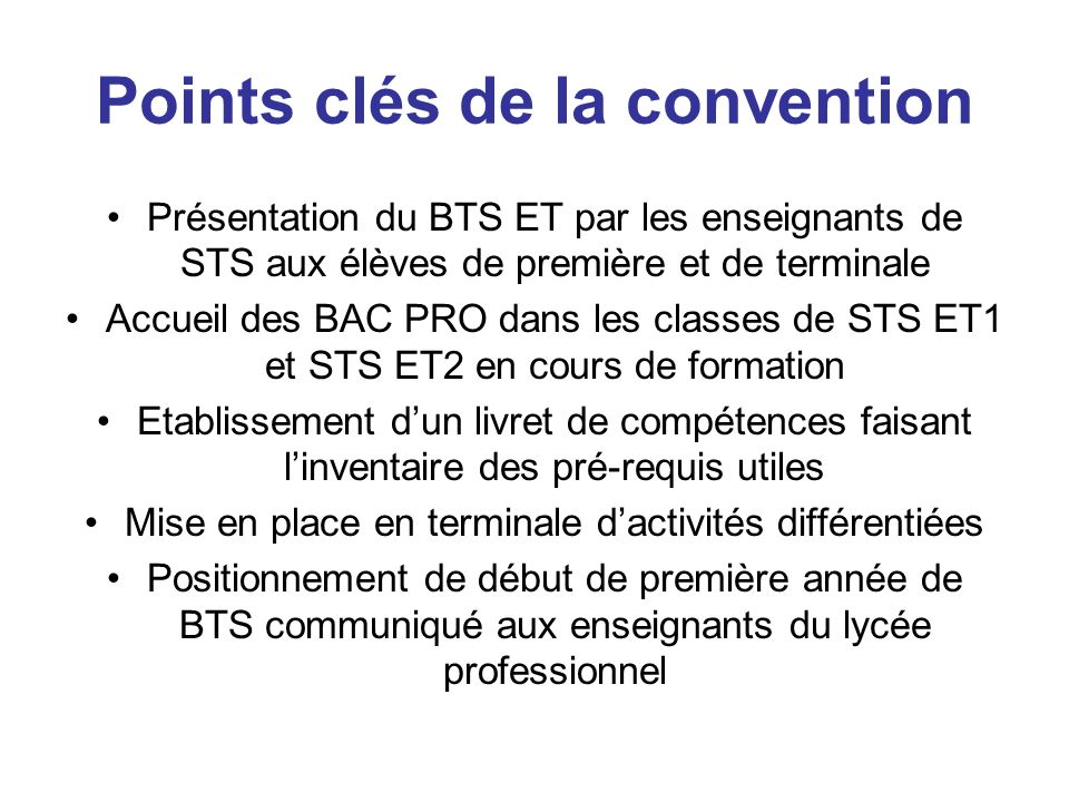 Points clés de la convention