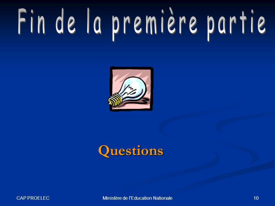 Questions Fin de la première partie CAP PROELEC