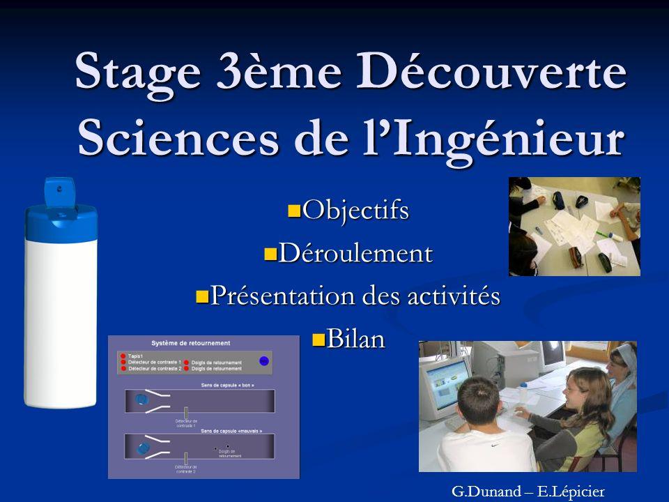 Stage 3ème Découverte Sciences de l'Ingénieur