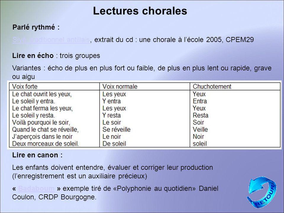 Lectures chorales 34 Parlé rythmé :