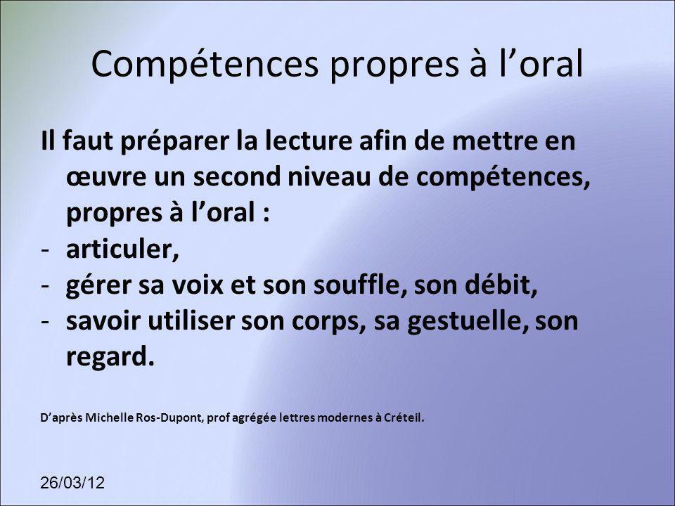 Compétences propres à l'oral
