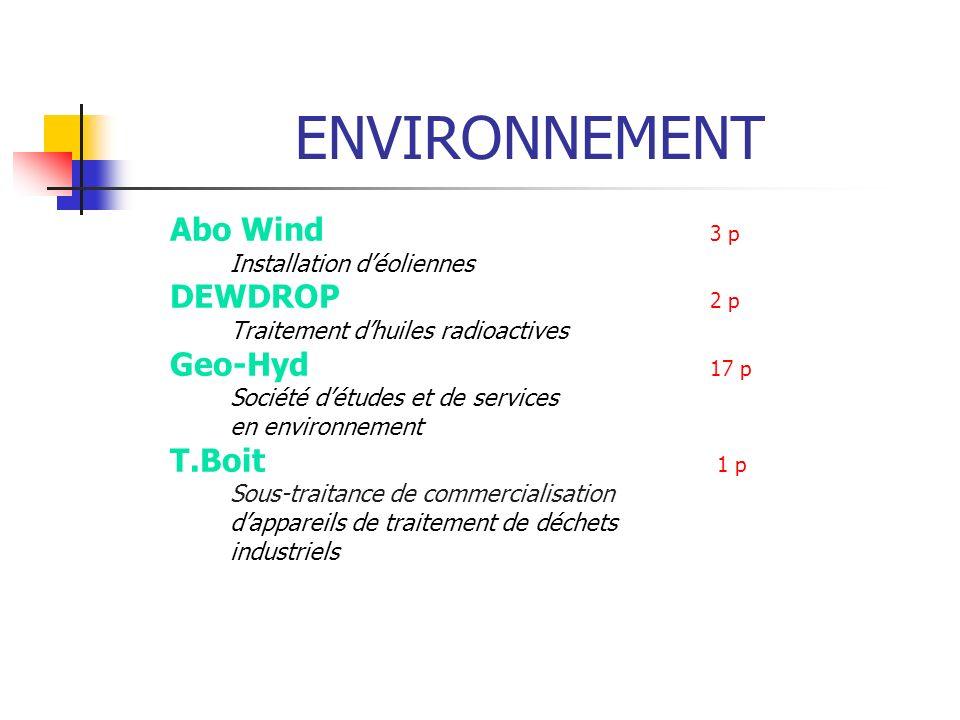 ENVIRONNEMENT Abo Wind 3 p DEWDROP 2 p Geo-Hyd 17 p