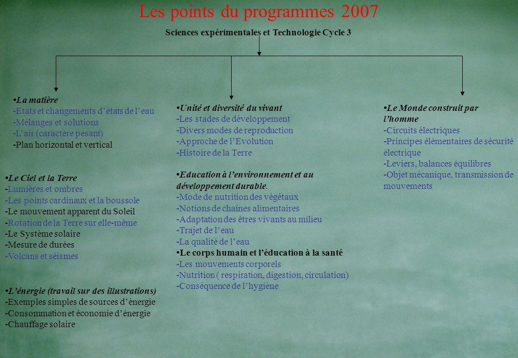 Les points du programmes 2007