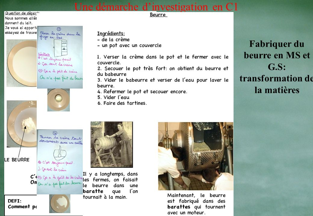 Fabriquer du beurre en MS et G.S: transformation de la matières