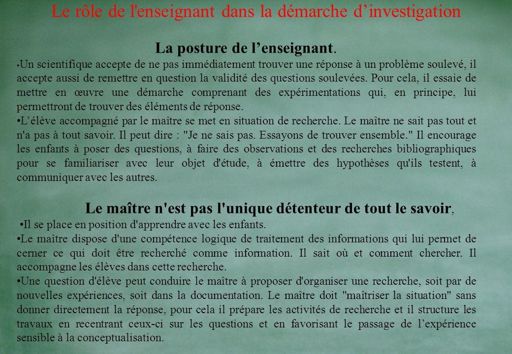 Le rôle de l enseignant dans la démarche d'investigation