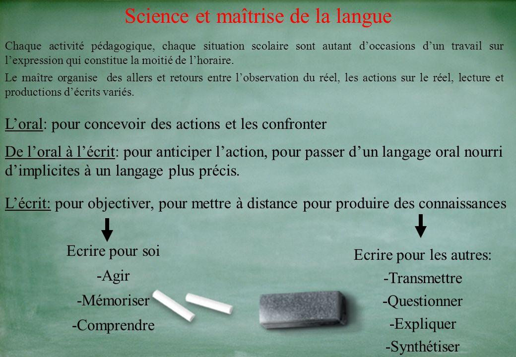 Science et maîtrise de la langue