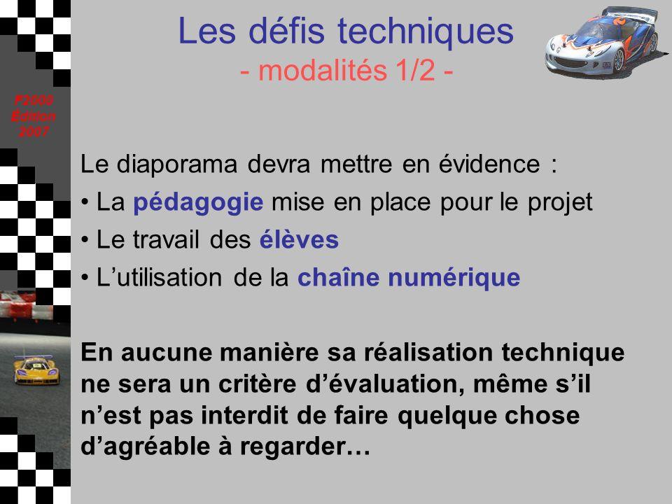 Les défis techniques - modalités 1/2 -