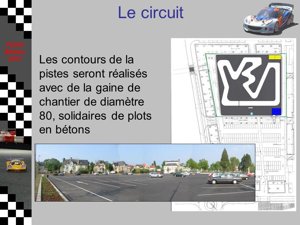 Le circuit Les contours de la pistes seront réalisés avec de la gaine de chantier de diamètre 80, solidaires de plots en bétons.