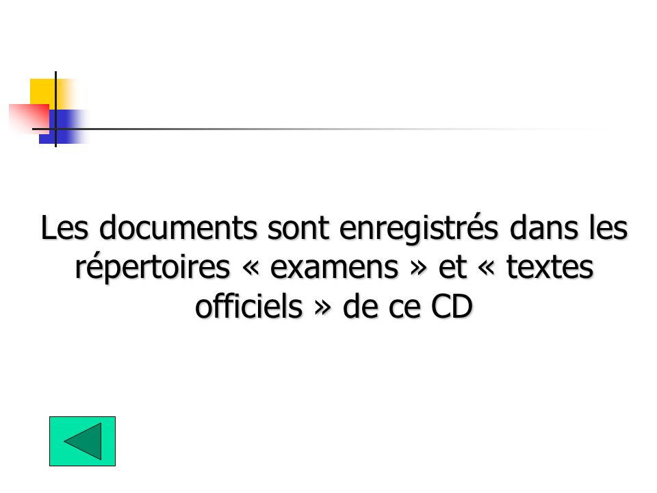 Les documents sont enregistrés dans les répertoires « examens » et « textes officiels » de ce CD
