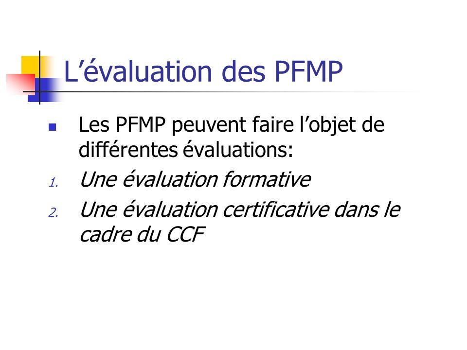 L'évaluation des PFMPLes PFMP peuvent faire l'objet de différentes évaluations: Une évaluation formative.