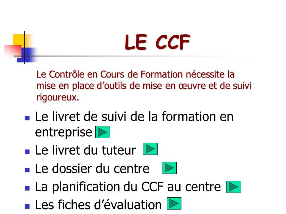 LE CCF Le livret de suivi de la formation en entreprise