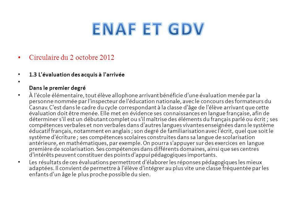 ENAF ET GDV Circulaire du 2 octobre 2012