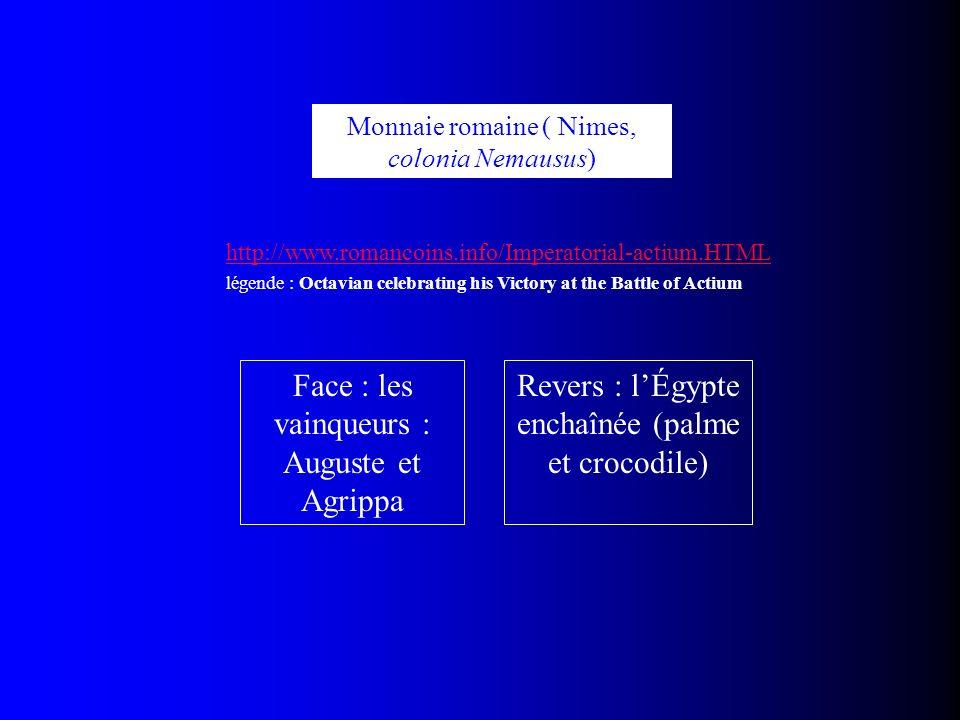 Face : les vainqueurs : Auguste et Agrippa