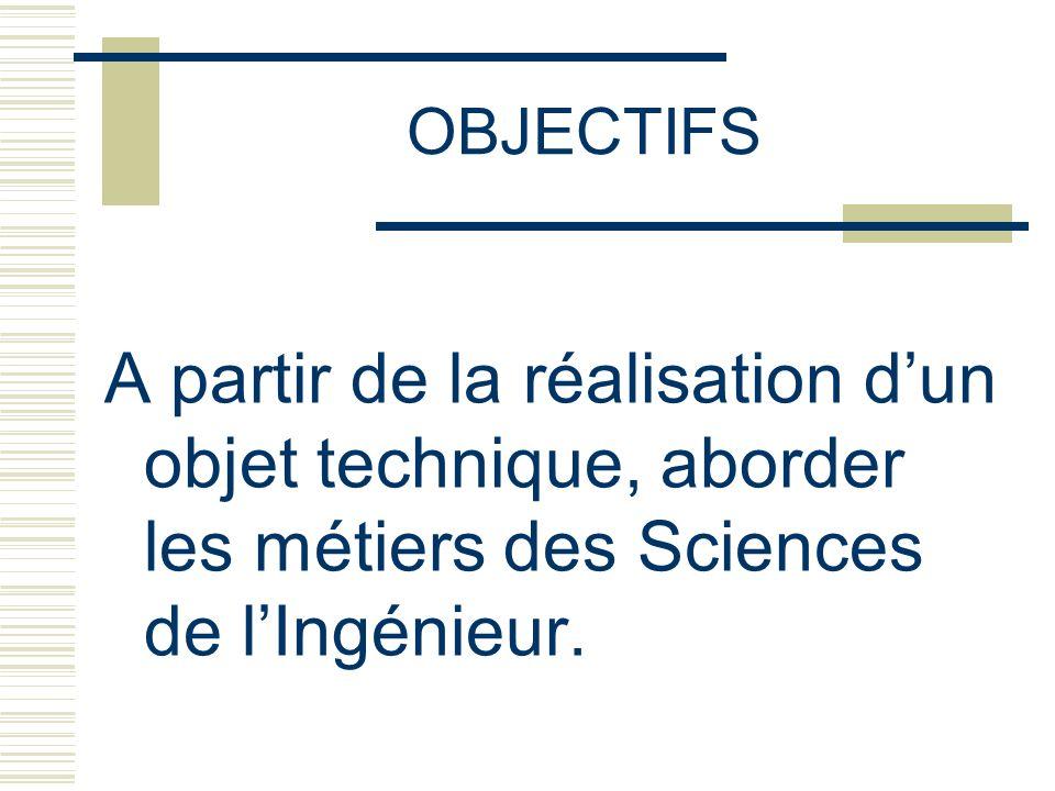OBJECTIFS A partir de la réalisation d'un objet technique, aborder les métiers des Sciences de l'Ingénieur.