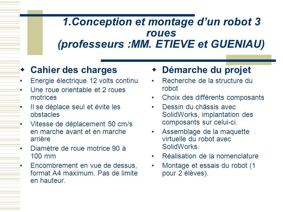 1. Conception et montage d'un robot 3 roues (professeurs :MM
