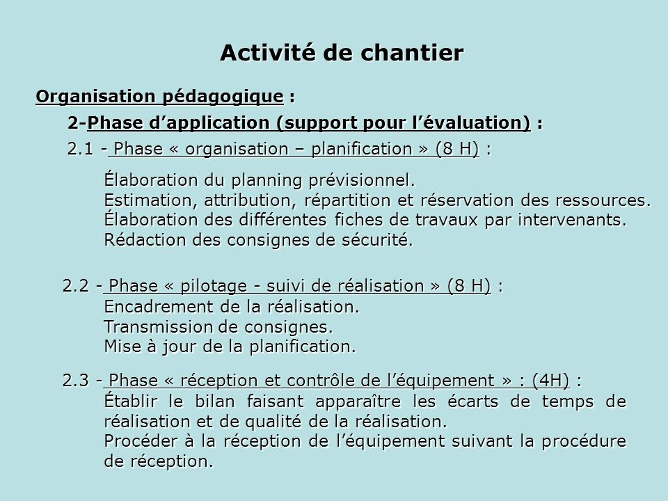 Organisation de chantier ppt video online t l charger for Application suivi de chantier