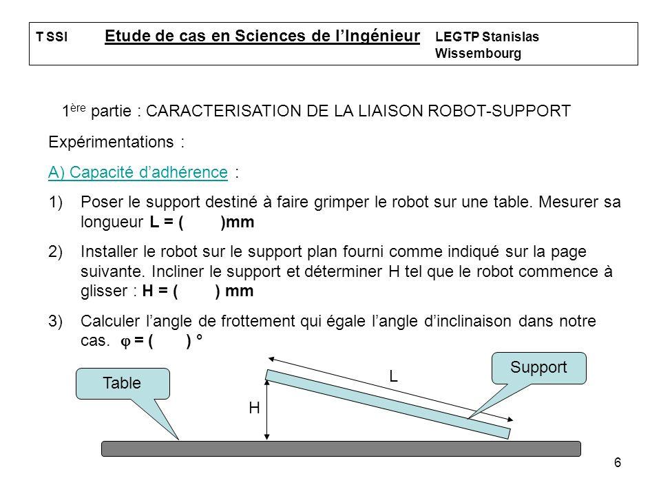 1ère partie : CARACTERISATION DE LA LIAISON ROBOT-SUPPORT