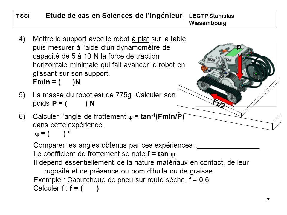 La masse du robot est de 775g. Calculer son poids P = ( ) N