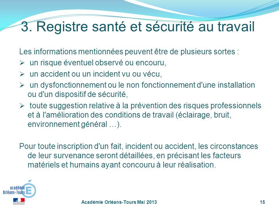 3. Registre santé et sécurité au travail