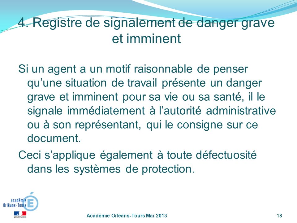 4. Registre de signalement de danger grave et imminent