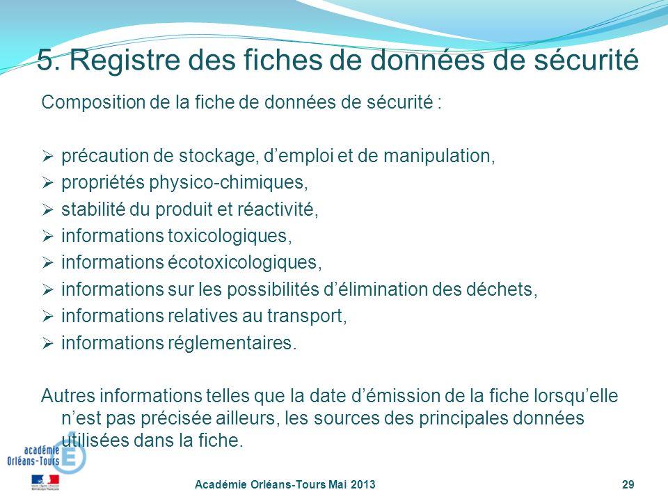 5. Registre des fiches de données de sécurité