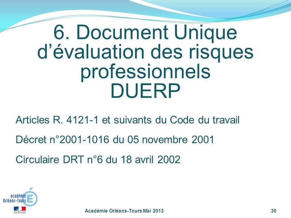 6. Document Unique d'évaluation des risques professionnels