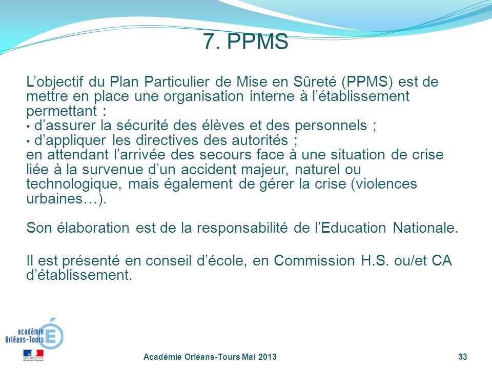 7. PPMS L'objectif du Plan Particulier de Mise en Sûreté (PPMS) est de mettre en place une organisation interne à l'établissement permettant :