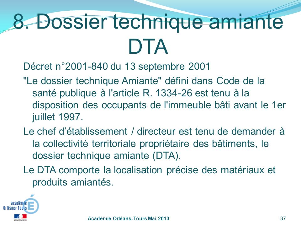 8. Dossier technique amiante DTA
