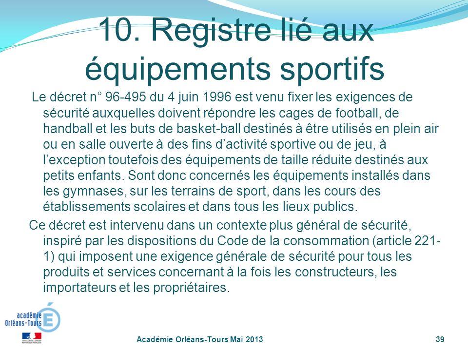 10. Registre lié aux équipements sportifs