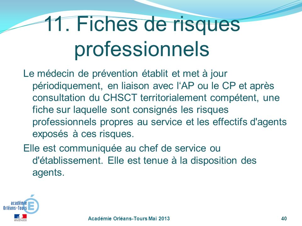 11. Fiches de risques professionnels