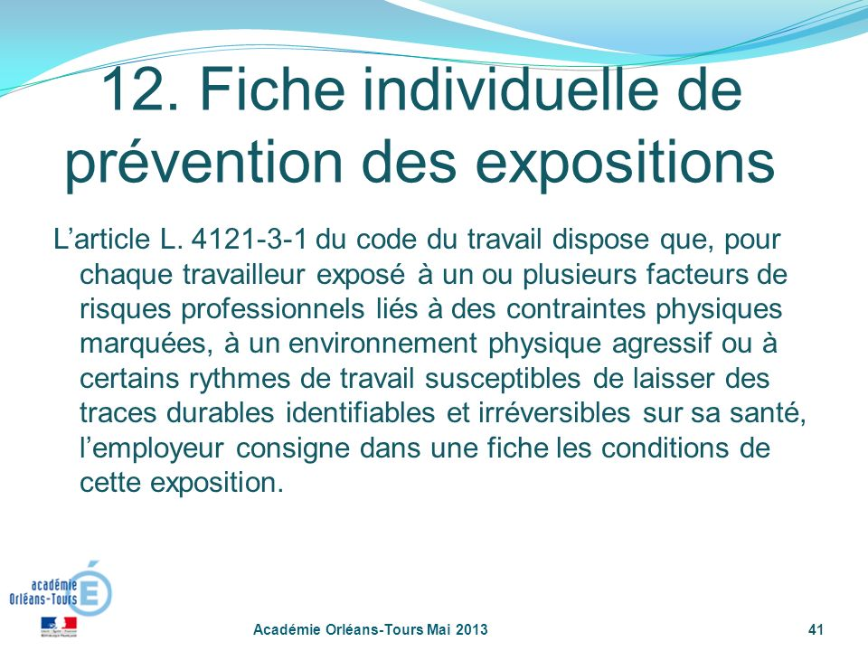 12. Fiche individuelle de prévention des expositions