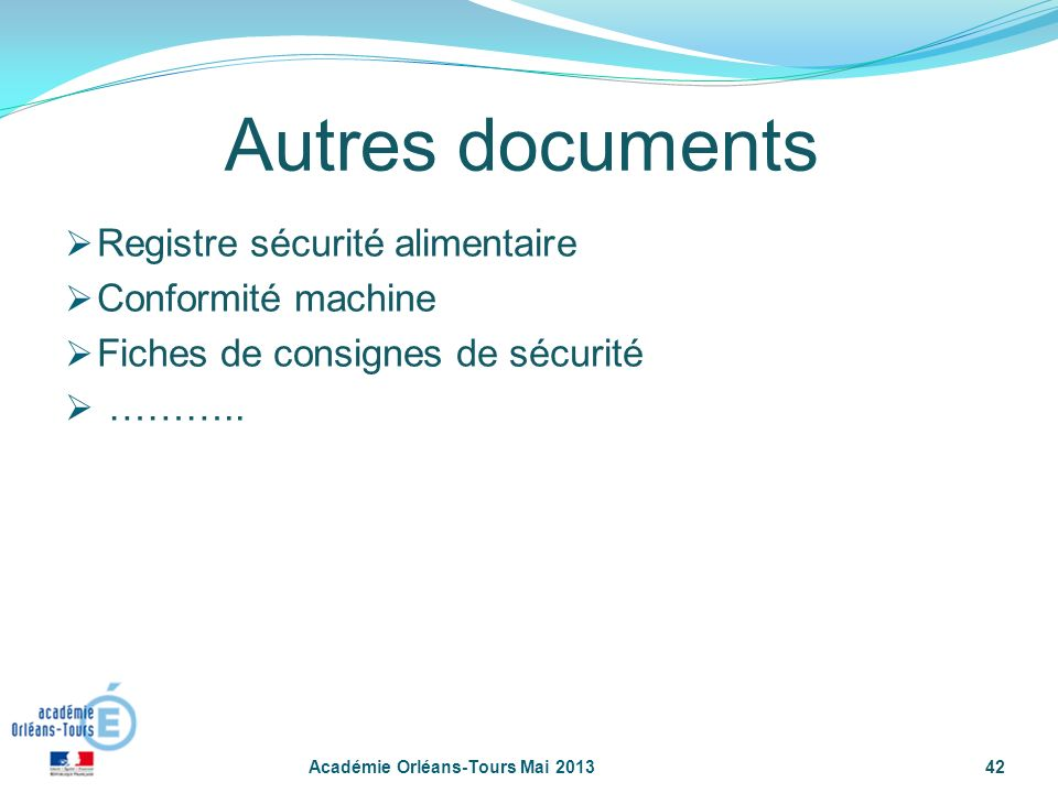 Autres documents Registre sécurité alimentaire Conformité machine