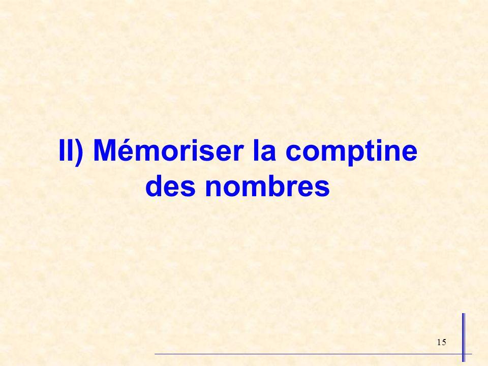 II) Mémoriser la comptine des nombres