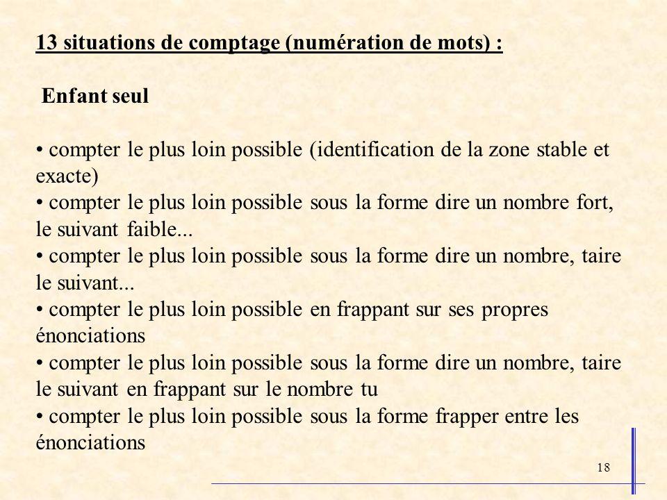 13 situations de comptage (numération de mots) :