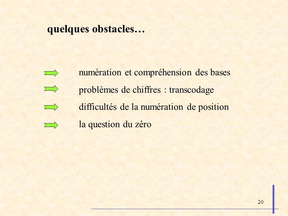 quelques obstacles… numération et compréhension des bases