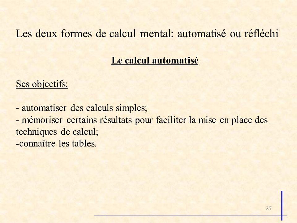 Les deux formes de calcul mental: automatisé ou réfléchi