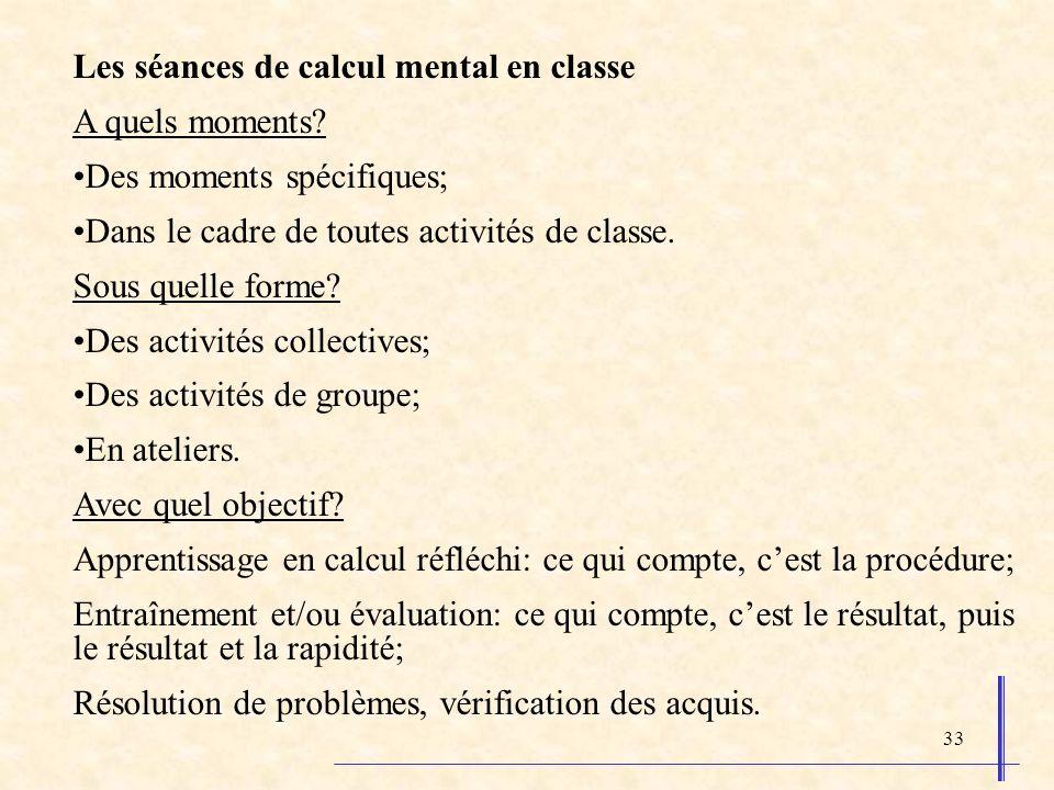 Les séances de calcul mental en classe