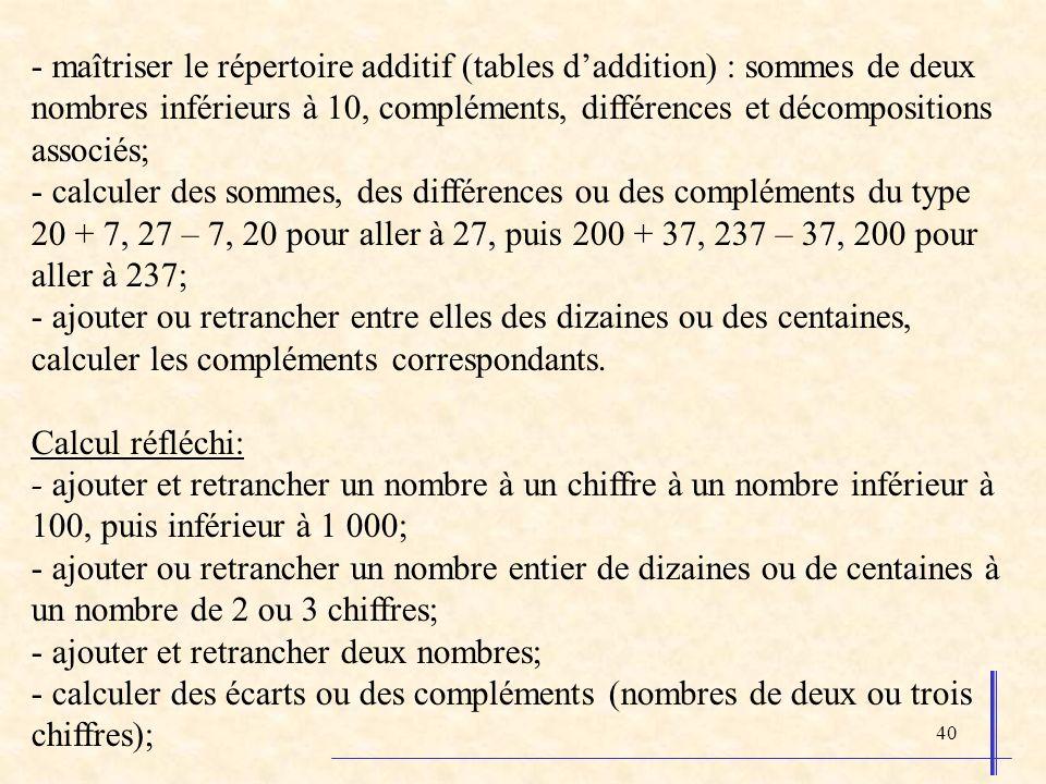 - maîtriser le répertoire additif (tables d'addition) : sommes de deux nombres inférieurs à 10, compléments, différences et décompositions associés;