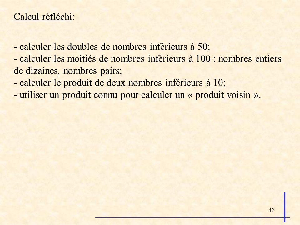 Calcul réfléchi: - calculer les doubles de nombres inférieurs à 50;