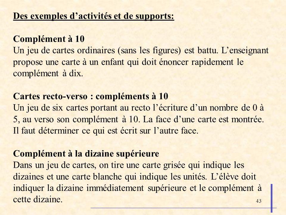 Des exemples d'activités et de supports: