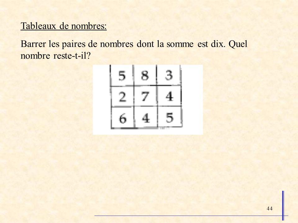 Tableaux de nombres: Barrer les paires de nombres dont la somme est dix. Quel nombre reste-t-il
