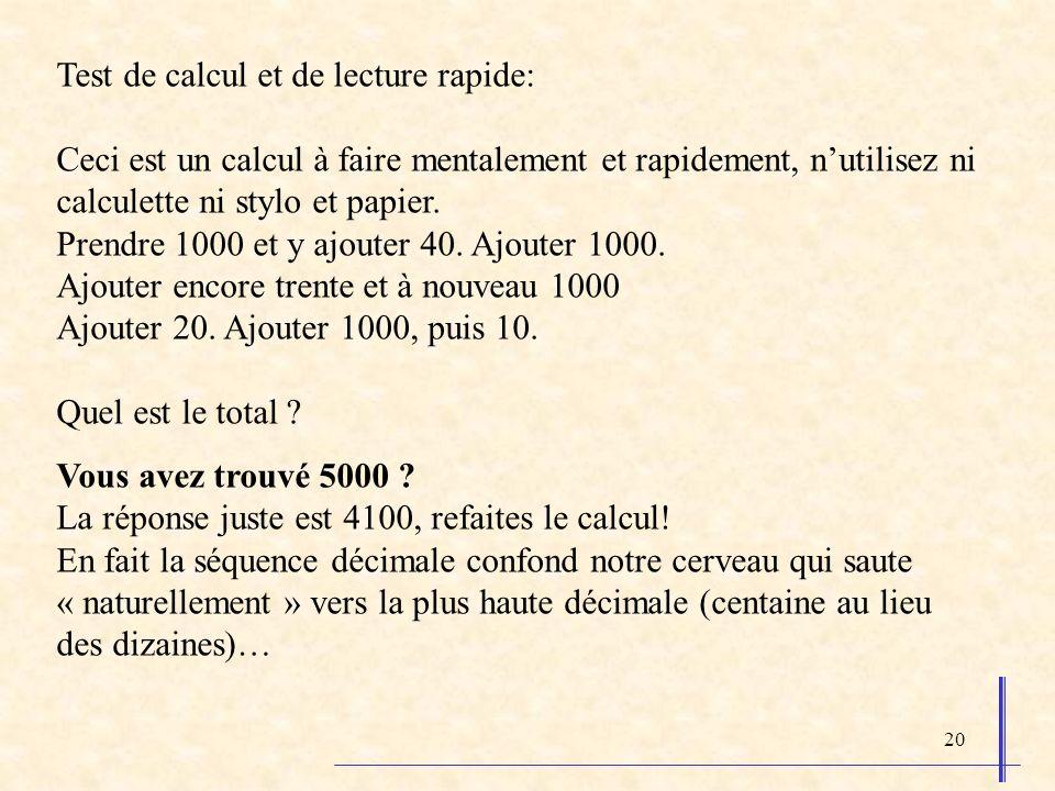 Test de calcul et de lecture rapide: