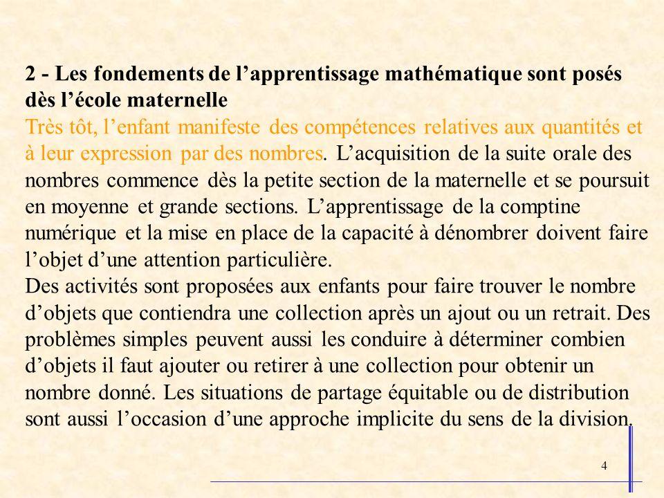 2 - Les fondements de l'apprentissage mathématique sont posés dès l'école maternelle