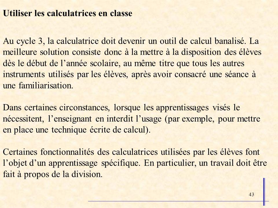 Utiliser les calculatrices en classe