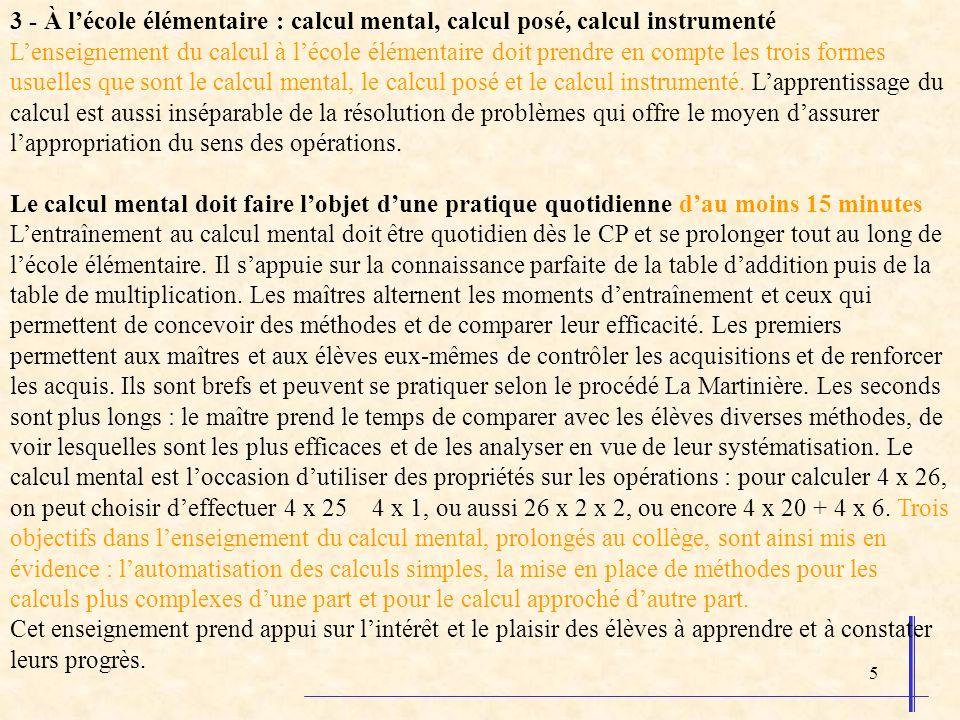 3 - À l'école élémentaire : calcul mental, calcul posé, calcul instrumenté