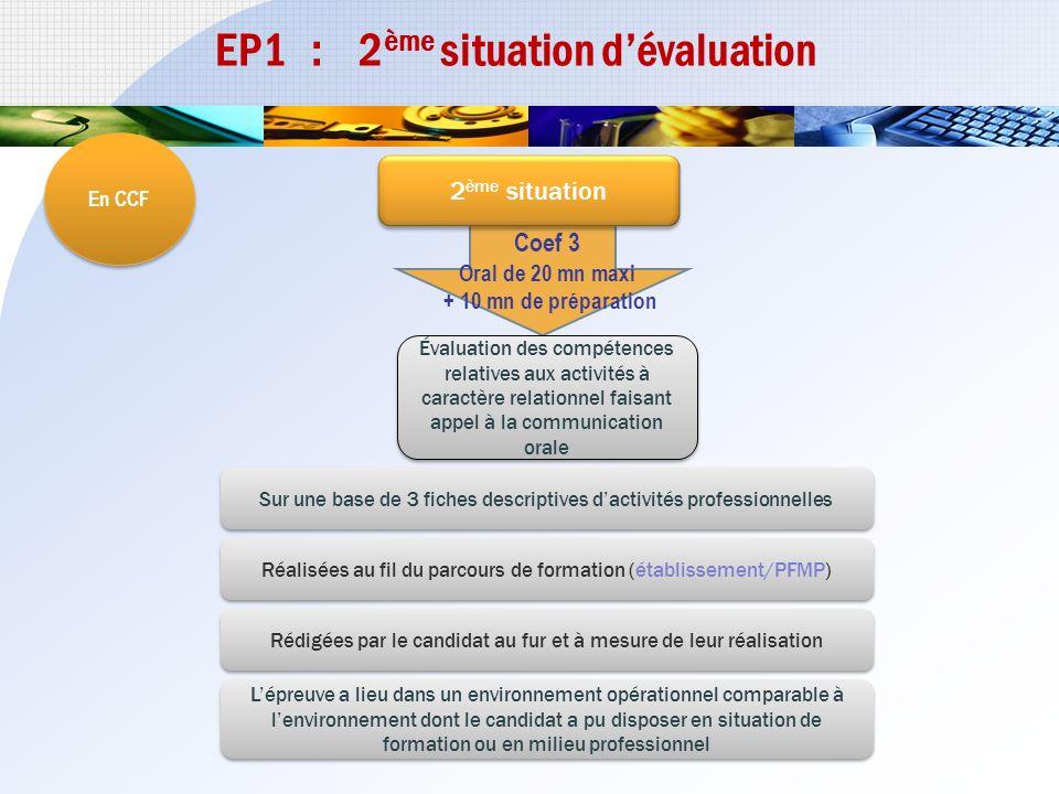 EP1 : 2ème situation d'évaluation