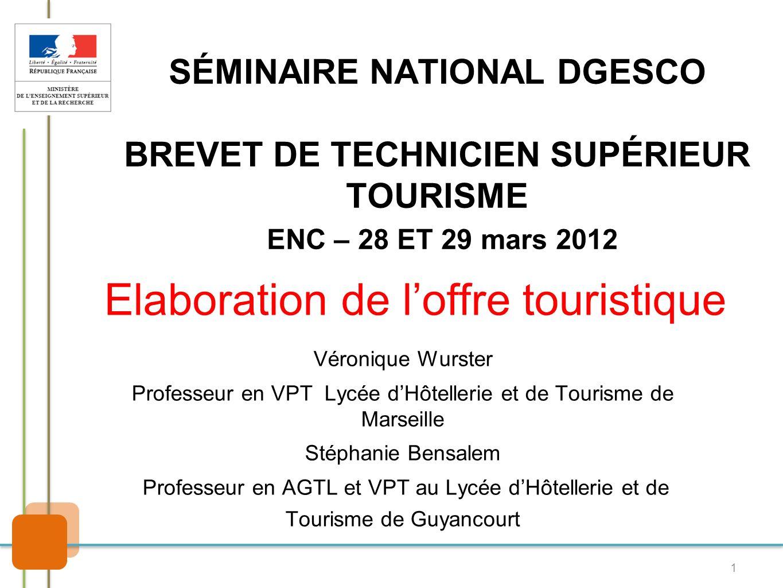 Elaboration de l'offre touristique