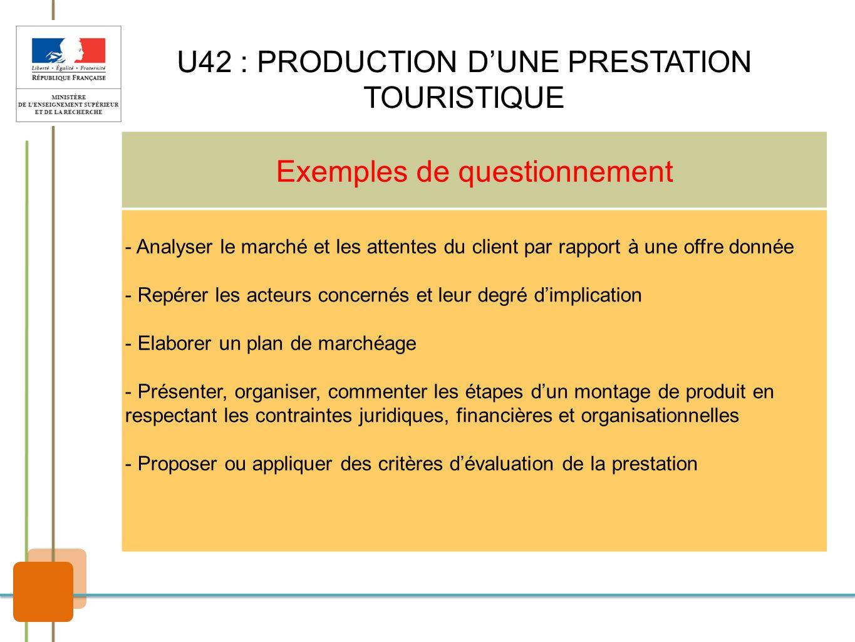 U42 : PRODUCTION D'UNE PRESTATION TOURISTIQUE