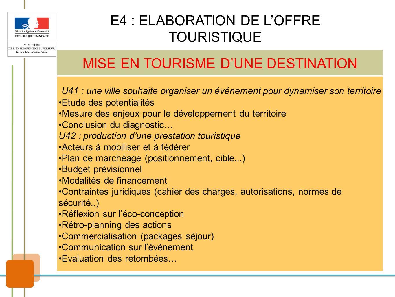 E4 : ELABORATION DE L'OFFRE TOURISTIQUE